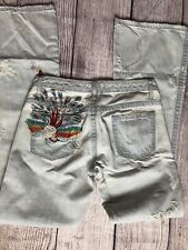 Womens 27 Buffalo Peacock Embroidered Boho Jeans Boot Lightwash Destructed Denim