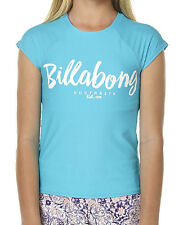 NEW +TAG BILLABONG GIRLS KIDS (10) WET SHIRT RASH VEST RASHIE RIPTIDE CAPRI BLUE