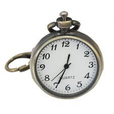 Bronze White Dial Arabic Numerals Key Ring Keychain Pocket Quartz Watc zxc
