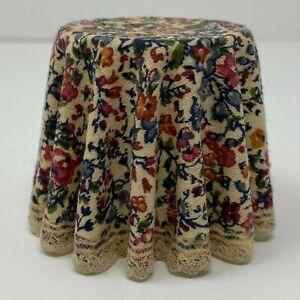 Vintage Artisan D ANNE RUFF Floral Side Table Dollhouse Miniature 1:12