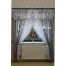 AMAZING READY MADE VOILE NET CURTAINS TAPE TOP , with valances and tie backs,
