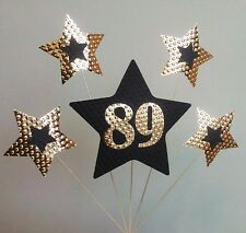 89th BIRTHDAY CAKE TOPPER. STARS,  Black and Gold.