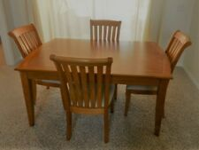 Dining Table / 4 Chairs with upholstered seat and wooden rail back