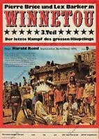 "DDR Progress Filmplakat A3 Winnetou 3. Teil ""Pierre Brice, Lex Barker"" Karl May"