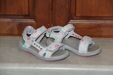 Toddler Girl See Kai Run Pink, Gray Floral Sandals size 9.5
