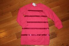 NWT Gymboree Star of the Show Size 7 Pink Fleece Sequin Stripe Tunic Dress