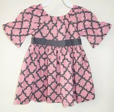 New In Package Kelly's Kids Robyn Blush/Gray Geo Peasant Dress Size 7-8