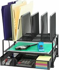Black Mesh Desk Organizer with Sliding Drawer, Double Tray & 5 Upright Sections