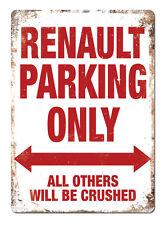"""RENAULT Parking"" White Metal Wall Sign Plaque Garage Classic Clio Megane Sport"