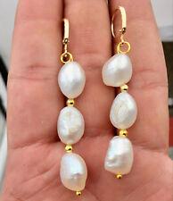 Fashion 9-12mm White Akoya Pearl 14k Gold plated Leverback Dangle Earrings AAA