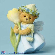 Enesco Cherished Teddies Figurine Bear With Crocus Flower