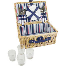 Yellowstone 4 Person Vintage Camping Wicker Picnic Basket Hamper