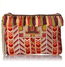 Steve Madden JKendra Coral Beaded Woven Tapestry Clutch Handbag Shoulder