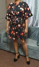 Plus Size Mini Dress Women's Party Floral Party V-Back Skater Skirt Dresses