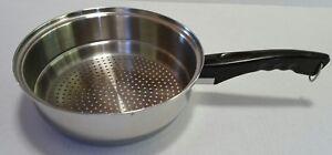 "Vintage Lustre Craft 8-3/4"" Stainless Steel Sauce Pan Steamer USA"