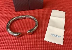 Vintage Samuel B Behnam BJC 925 Sterling Silver 18K Gold Cable Bangle Bracelet
