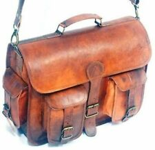 Real Goat Leather Vintage Brown Messenger Shoulder Laptop Bag Travel Briefcase