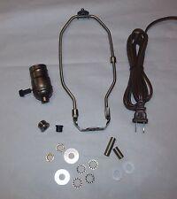 "ANTIQUE BRASS LAMP REPAIR REFURBISH KIT ~ 3 WAY Socket and 7"" Harp ~ by PLD"