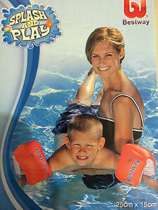 BESTWAY INFLATABLE SWIMMING ARM BANDS KIDS CHILDS 10x6 SWIM POOL BUOYANCY AIDS