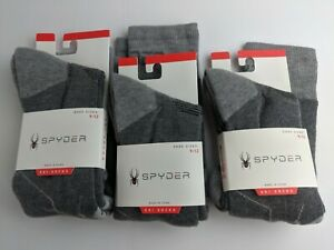 NEW Lot of 3 SPYDER Ski Socks Gray Men 9-10 Women 10-12 Large Logo Heat Zone H3