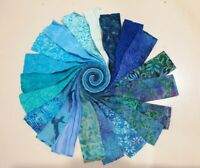 Batik 100% Cotton Fabric Quilter Jelly Roll 40pcs x 112cm x 6.35cm Moody Blue