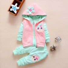 Girl 3 pcs clothing set outfit (jacket+vest+pants) 2-3 years GREEN/PINK from UK