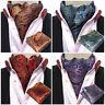 Men Paisley Floral Cravat Ascot Necktie Wedding Matching Hanky Pocket Square Set
