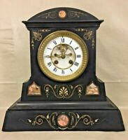 Samuel Marti Slate Clock Decorative Detail & Open Escapement Time & Strike Runs!