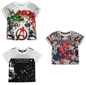 Tee-shirt manches courtes super héros officiel Marvel Star Wars du 2 au 13 ans