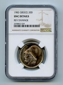 GREECE 1982 20 Drachmai KM# 133 NGC UNC DETAILS REV DAMAGE -GAJ