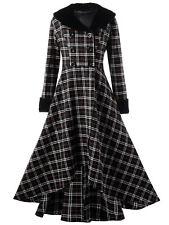 Women Plus Size Double Breasted Plaid Swing Coat High Waist Faux Fur Collar Coat