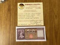 BANCONOTA LIRE 500 ITALIA SPIGHE 1961 NON COMUNE certificata SPL+