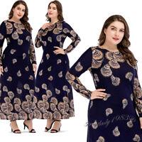Muslim Women Print Flower Long Dress Abaya Islamic Jilbab Kaftan Maxi Cocktail