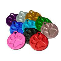Médaille ronde alu gravée chat ou petit chien empreinte de patte 9 couleurs