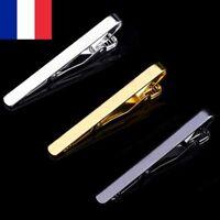 Lot 2X Pince à Cravate en métal couleur Argent Or ou Noir Homme Fermoir 5,3 cm