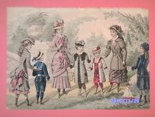 MAGNIFIQUE gravure de mode LE CONSEILLER DES FAMILLES colorée a la main enfant