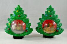Vintage Christmas Plastic Snow Globe Lot Christmas Trees