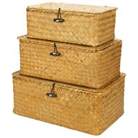 Woven Wicker Storage Bins with Lid-Set of 3-Rectangular Seagrass Basket/Sto U3K2