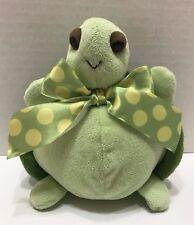 "Bearington Baby Turtle Plush 7"" Stuffed Animal Baby Green Spotted Bow"