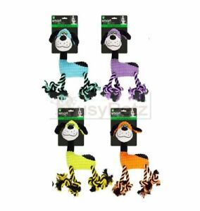 PLUSH & ROPE SQUEAKY  DOG TOYS 4 COLOURS.