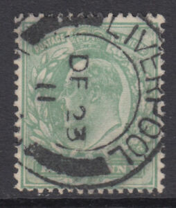 SG 279 1/2d Dull Green M4 (1) VFU with attractive, dated Liverpool CDS cancel.