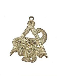 An Unusual Vintage Costume Silver Plated Masonic Jewel Medal Pendant #19