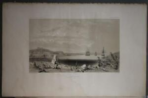 ST. VINCENT BAY CHILE 1841 DUMONT D'URVILLE ANTIQUE ORIGINAL LITHOGRAPHIC VIEW