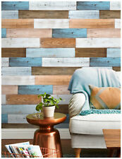 3D Peel and Stick Shiplap Wallpaper Wood Brown/White/Blue Vinyl Contact Paper