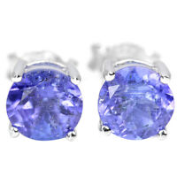 ALLURING NATURAL AAA BLUE TANZANITE ROUND STERLING 925 SILVER EARRING