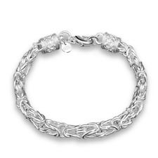 Fashion Retro Men Women 925 Silver Plated Dragon Head Bangle Chain Bracelet Gift
