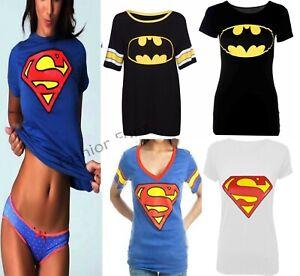 Womens Ladies Basketball Superman Batman Print Baggy T-Shirt Varsity Top 8-14