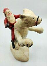 Santa Claus Wood Carving Christmas Polar Bear Signed Casey Edwards (TL)
