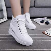 Womens Hidden Wedge Platform Lace Up High Top Sneakers Ankle Boots Shoes BN344
