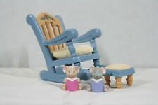 Rare! Discontinued Fisher Price Toys Briarberry Bears Blue Rocking Chair Set